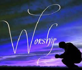 the word worship with the man at the side worshiping